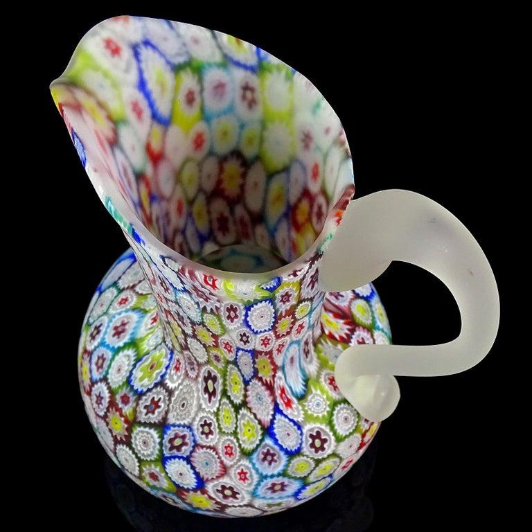 Mid-Century Modern Fratelli Toso Murano Millefiori Flower Mosaic Italian Art Glass Pitcher Vase For Sale