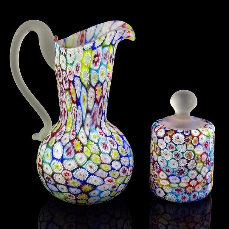 Fratelli Toso Murano Millefiori Flower Mosaic Italian Art Glass Pitcher Vase In Good Condition For Sale In Kissimmee, FL