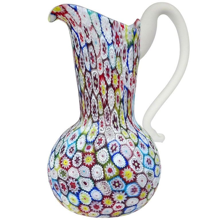 Fratelli Toso Murano Millefiori Flower Mosaic Italian Art Glass Pitcher Vase For Sale