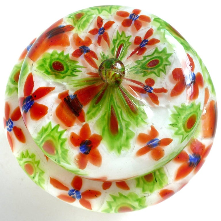 Art Deco Fratelli Toso Murano Millefiori Flower Mosaic Italian Art Glass Powder Box For Sale