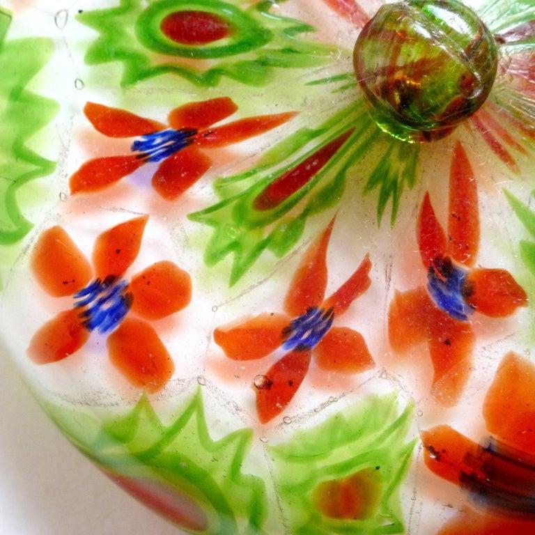 Hand-Crafted Fratelli Toso Murano Millefiori Flower Mosaic Italian Art Glass Powder Box For Sale