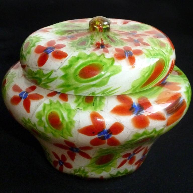20th Century Fratelli Toso Murano Millefiori Flower Mosaic Italian Art Glass Powder Box For Sale