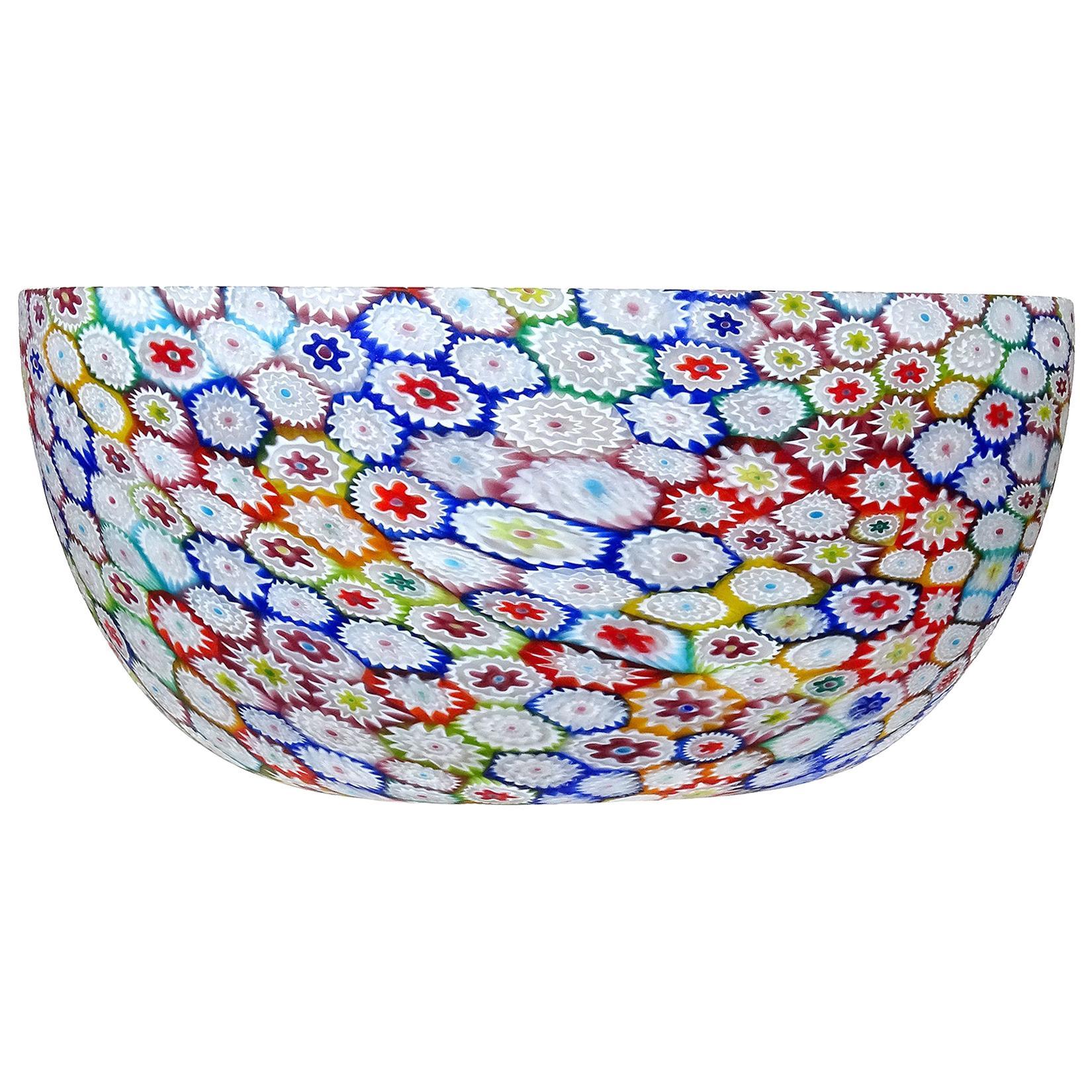 Fratelli Toso Murano Millefiori Flower Mosaic Italian Art Glass Tall Bowl Vase