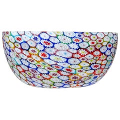 Fratelli Toso Murano Millefiori Flower Mosaic Italian Art Glass Tall Bowl Vase