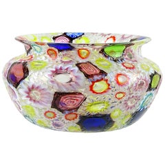 Fratelli Toso Murano Millefiori Flower Star Mosaic Italian Art Glass Bowl