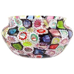Fratelli Toso Murano Millefiori Flower Star Mosaic Italian Art Glass Candy Bowl