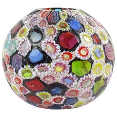 Fratelli Toso Murano Millefiori Flower Star Mosaic Italian Art Glass Flower Vase