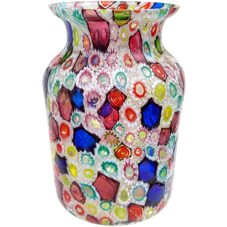Fratelli Toso Murano Millefiori Flower Star Mosaic Italian Art Glass