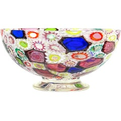 Fratelli Toso Murano Millefiori Flower Star Mosaic Italian Art Glass Footed Bowl
