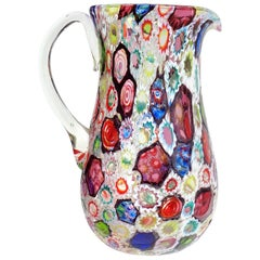 Fratelli Toso Murano Millefiori Flower Star Mosaic Italian Art Glass Pitcher