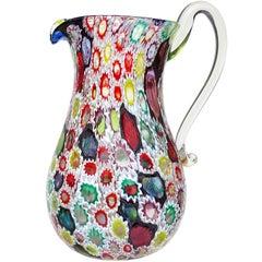 Fratelli Toso Murano Millefiori Flower Star Mosaic Italian Art Glass Pitcher