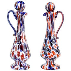 Fratelli Toso Murano Millefiori Flower Star Mosaic Italian Art Glass Pitchers