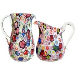 Fratelli Toso Murano Millefiori Flower Star Mosaic Italian Art Glass Pitchers