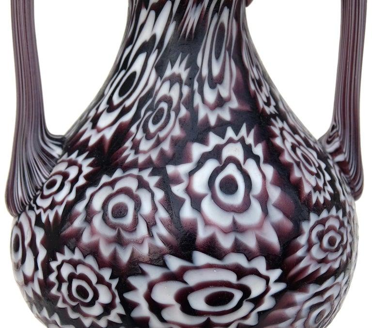 Art Nouveau Fratelli Toso Murano Millefiori Flowers Antique Italian Art Glass Cabinet Vase