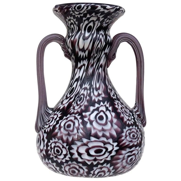Fratelli Toso Murano Millefiori Flowers Antique Italian Art Glass Cabinet Vase