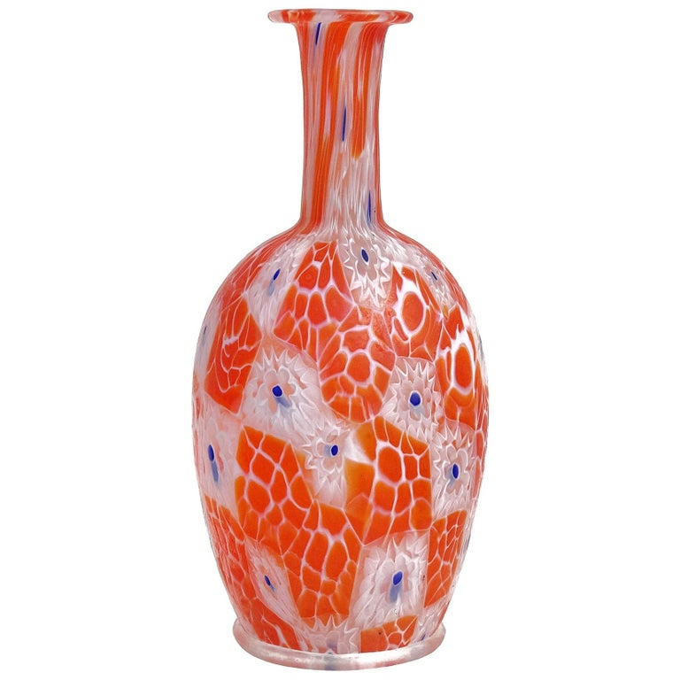 Fratelli Toso Murano Millefiori Flowers Antique Italian Art Glass Cabinet Vase