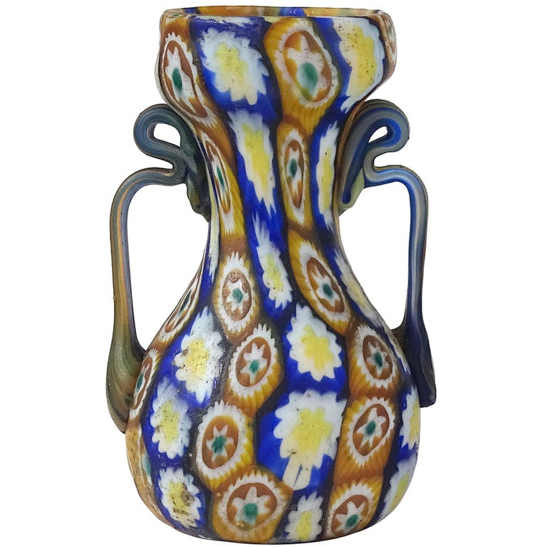Art Nouveau Fratelli Toso Murano Millefiori Flowers Antique Italian Art Glass Cabinet Vase For Sale