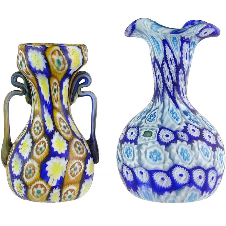 Hand-Crafted Fratelli Toso Murano Millefiori Flowers Antique Italian Art Glass Cabinet Vases For Sale