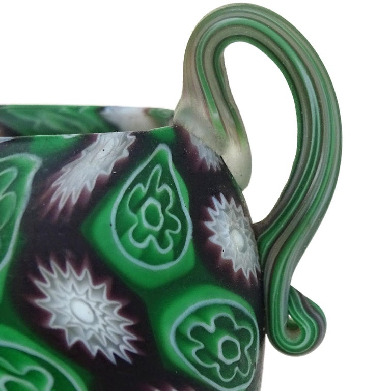 Hand-Crafted Fratelli Toso Murano Millefiori Flowers Antique Italian Art Glass Cabinet Vase