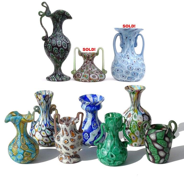 20th Century Fratelli Toso Murano Millefiori Flowers Antique Italian Art Glass Cabinet Vase For Sale