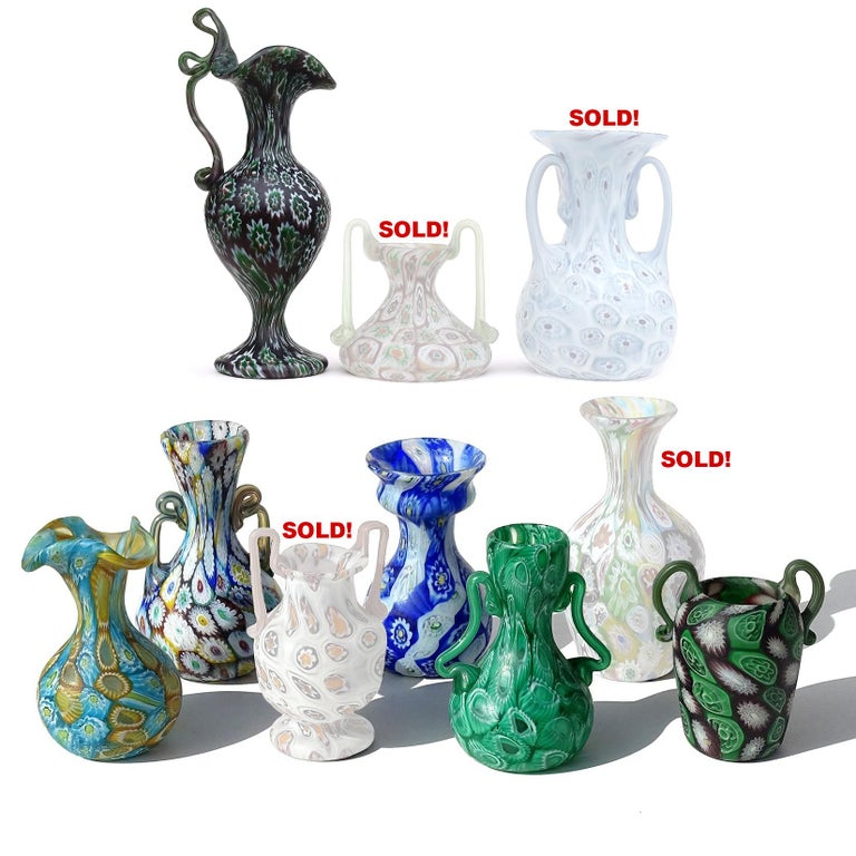 Fratelli Toso Murano Millefiori Flowers Antique Italian Art Glass Cabinet Vases In Good Condition For Sale In Kissimmee, FL