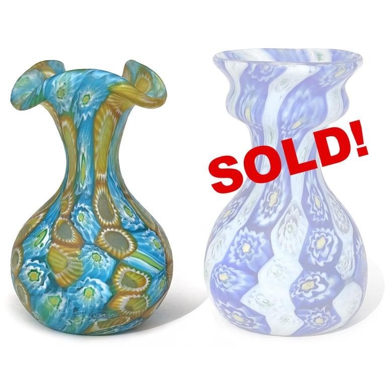 ONLY 1 Left! Beautiful antique Murano hand blown millefiori flower mosaic Italian art glass decorative cabinet vase. Documented to the Fratelli Toso company, circa 1910-1930. The vase has vertical orange with white flowers, and white, yellow and sky