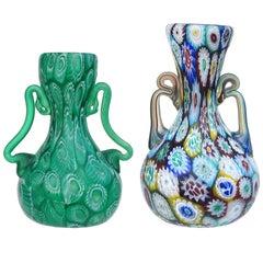 Fratelli Toso Murano Millefiori Flowers Antique Italian Art Glass Cabinet Vases
