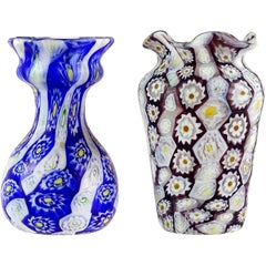 Fratelli Toso Murano Millefiori Flowers Antique Italian Art Glass Cabinet Vases