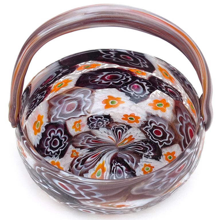 Art Nouveau Fratelli Toso Murano Millefiori Flowers Antique Italian Art Glass Mini Basket For Sale