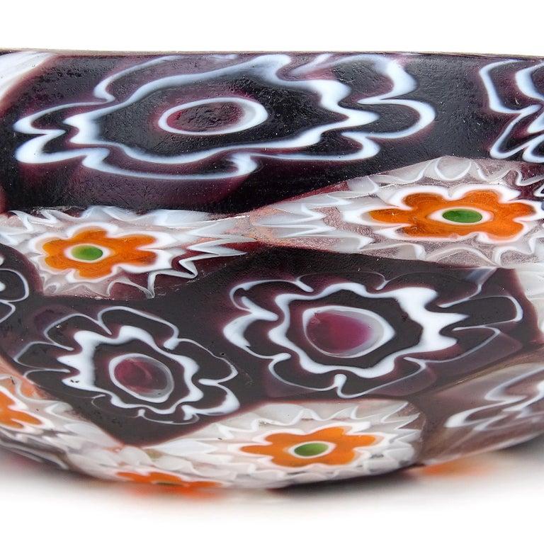 Hand-Crafted Fratelli Toso Murano Millefiori Flowers Antique Italian Art Glass Mini Basket For Sale