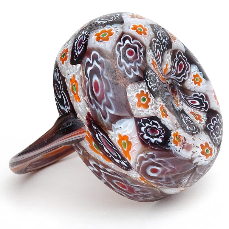 20th Century Fratelli Toso Murano Millefiori Flowers Antique Italian Art Glass Mini Basket For Sale
