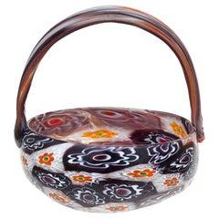 Fratelli Toso Murano Millefiori Flowers Antique Italian Art Glass Mini Basket