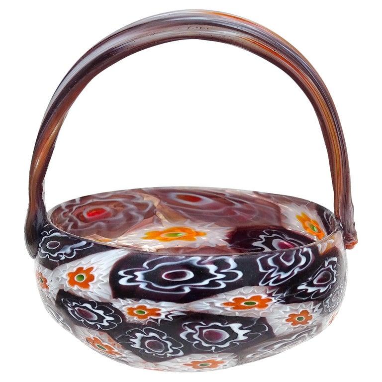 Fratelli Toso Murano Millefiori Flowers Antique Italian Art Glass Mini Basket For Sale