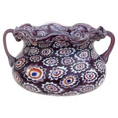 Fratelli Toso Murano Millefiori Flowers Antique Italian Art Glass Ruffled Bowl
