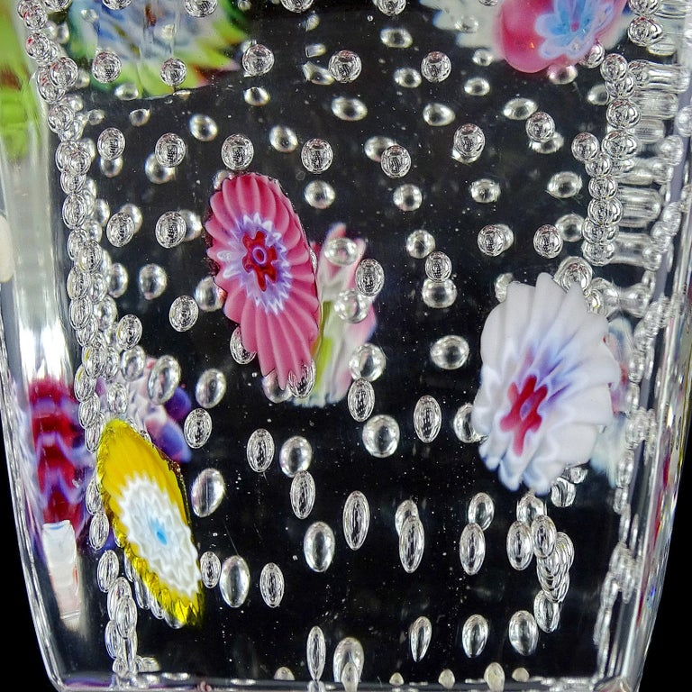 Mid-Century Modern Fratelli Toso Murano Millefiori Flowers Bubbles Italian Art Glass Paperweight For Sale