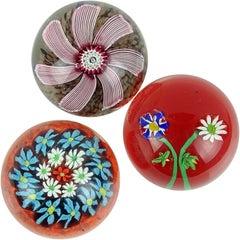 Fratelli Toso Murano Millefiori Flowers Daisies Italian Art Glass Paperweights