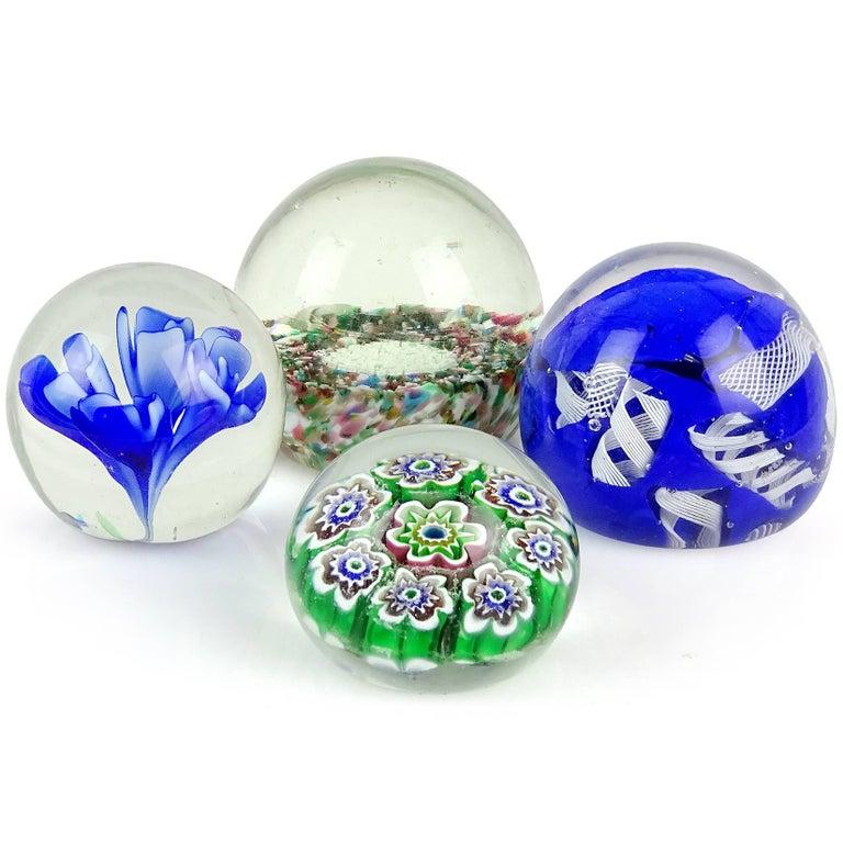 Mid-Century Modern Fratelli Toso Murano Millefiori Flowers Mosaic Italian Art Glass Paperweight Set For Sale
