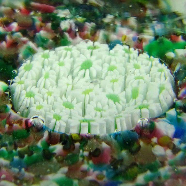 20th Century Fratelli Toso Murano Millefiori Flowers Mosaic Italian Art Glass Paperweight Set For Sale
