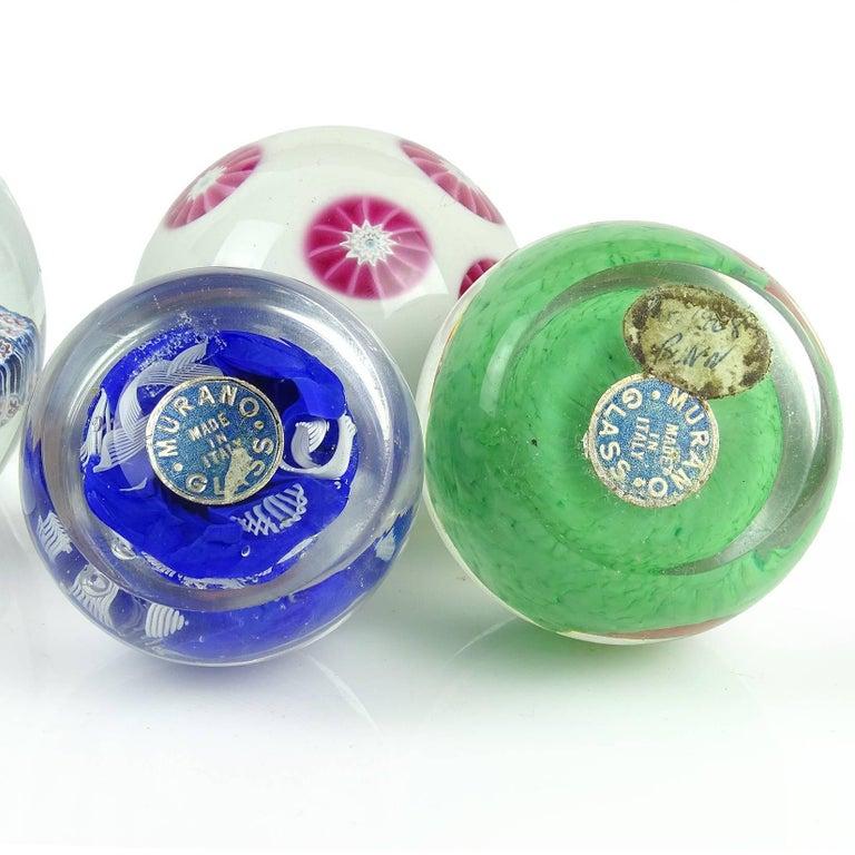 Blown Glass Fratelli Toso Murano Millefiori Flowers Mosaic Italian Art Glass Paperweight Set For Sale