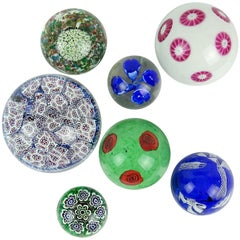 Fratelli Toso Murano Millefiori Flowers Mosaic Italian Art Glass Paperweight Set