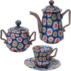 Fratelli Toso Murano Millefiori Mosaic Teapot Sugar Bowl Italian Art Glass Set