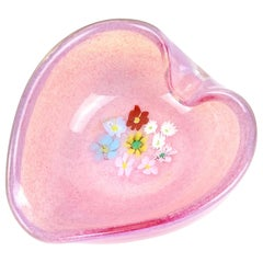Fratelli Toso Murano Millefiori Pink Opalescent Italian Art Glass Heart Bowl