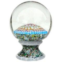 Fratelli Toso Murano Mosaic Millefiori Flower Italian Art Glass Paperweight