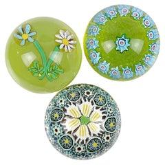 Fratelli Toso Murano Mosaic Millefiori Flower Italian Art Glass Paperweights
