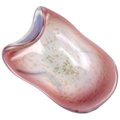 Fratelli Toso Murano Opalescent Purple Aventurine Flecks Italian Art Glass Bowl