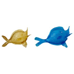 Fratelli Toso Murano Pair of 1930s Fish Sculptures in Blue and Yellow