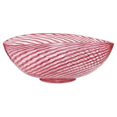 Fratelli Toso Murano Pink Aventurine Ribbons Italian Art Glass Centerpiece Bowl