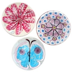 Fratelli Toso Murano Pink Blue Butterfly Flowers Italian Art Glass Paperweights