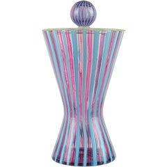 Fratelli Toso Murano Pink Blue Filigrana Italian Art Glass Hourglass Container