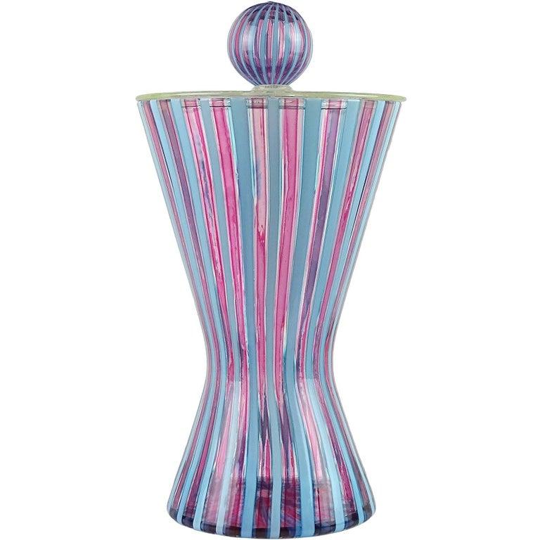 Fratelli Toso Murano Pink Blue Filigrana Italian Art Glass Hourglass